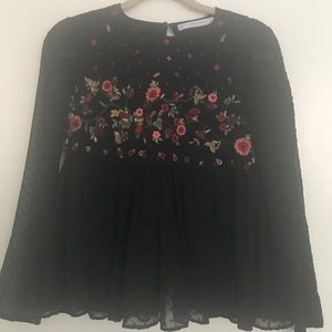 Floral and black summer top
